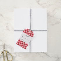 Red and White Houndstooth Your Monogram Gift Tags