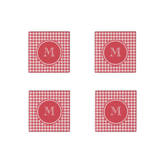 Red and White Houndstooth Your Monogram Stone Magnet