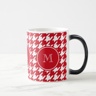 Red and White Houndstooth Your Monogram Magic Mug