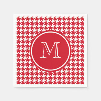 Red and White Houndstooth Your Monogram Disposable Napkin