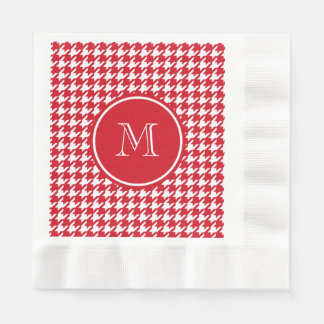 Red and White Houndstooth Your Monogram Coined Luncheon Napkin