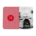 Red and White Houndstooth Your Monogram Rectangle Magnet