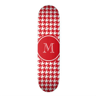 Red and White Houndstooth Your Monogram Skate Board Deck