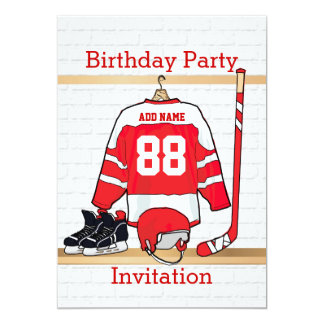 Red and White Ice Hockey Jersey Birthday Party 5x7 Paper Invitation Card