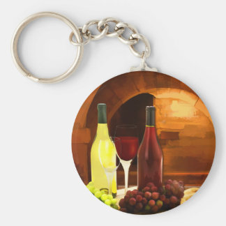 Red and White in the Cellar Keychains