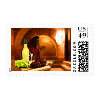 Red and White in the Cellar Postage