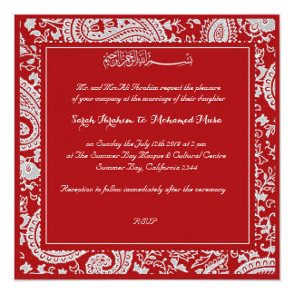 Red and white indian damask  muslim wedding personalized invitations