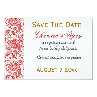 Red and white Indian damask Save the date wedding 3.5x5 Paper Invitation Card