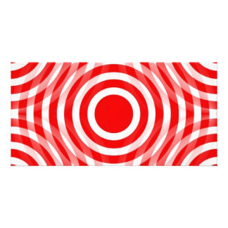 red_and_white_interlocking_concentric_circles personalized photo card