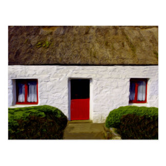 Red and White Irish Cottage Postcard