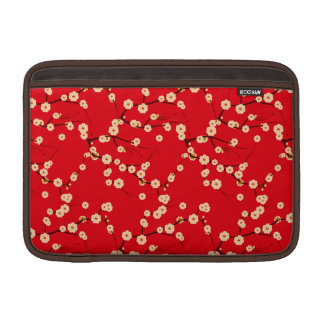 Red and White Japanese Cherry Blossom Pattern MacBook Air Sleeves