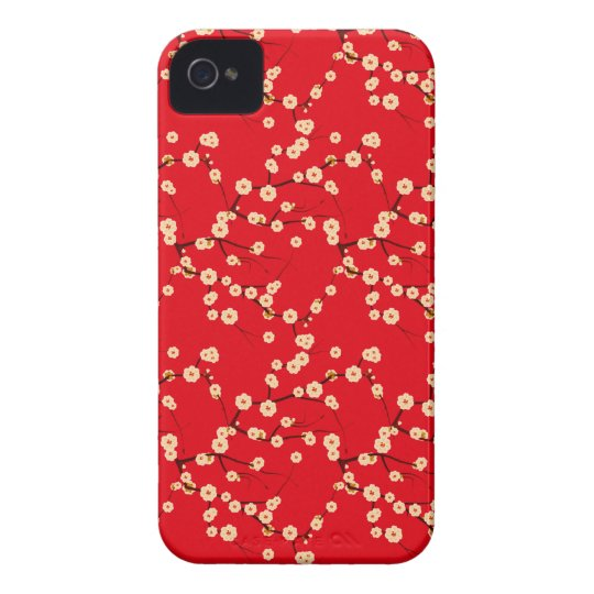 Red and White Japanese Cherry Blossoms Pattern iPhone 4 Case-Mate Case