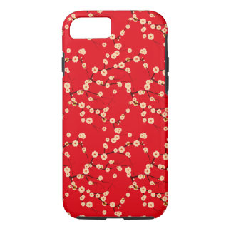 Red and White Japanese Cherry Blossoms Pattern iPhone 7 Case