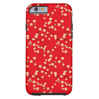 Red and White Japanese Cherry Blossoms Pattern Tough iPhone 6 Case