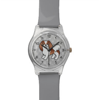 Red And White Japanese Chin Cartoon Dog Wristwatch