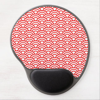 Red and White Japanese Geometric Circle Gel Mouse Pad