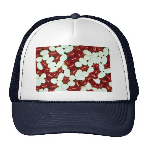 Red and white jelly beans trucker hat
