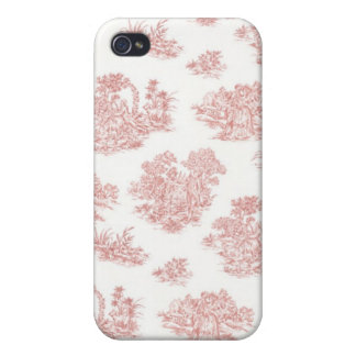 Red and white Jouy print Cover For iPhone 4