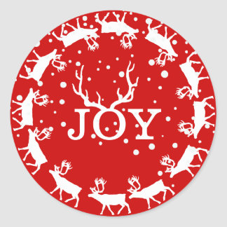 Red and White Joy Deer Antler Christmas Holiday Classic Round Sticker