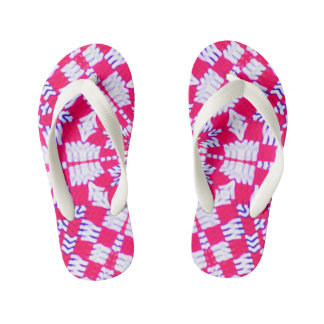 Red and white kaleidoscope design kid's flip flops