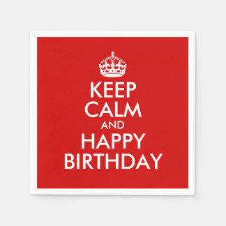 Red and White Keep Calm and Happy Birthday Standard Cocktail Napkin