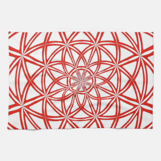 Red And White Kitchen towel with Abstract Design