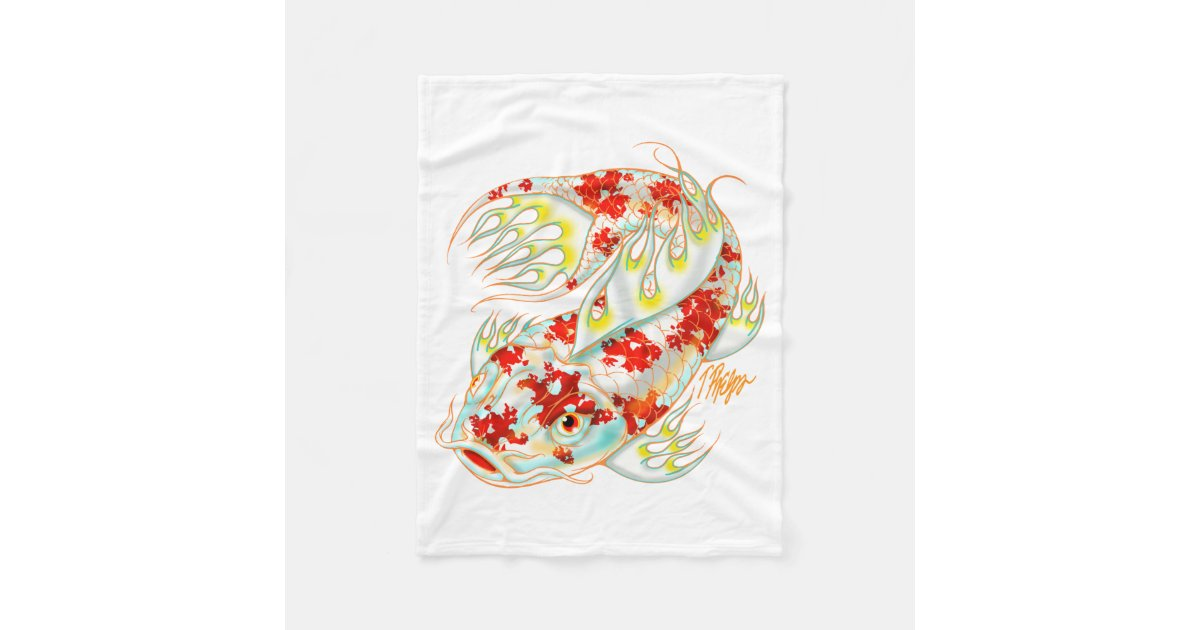 Red and white koi blanket zazzle for Red and white koi