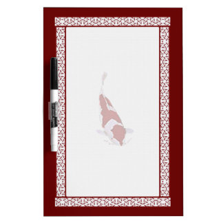 Red and White Koi Dry-Erase Board