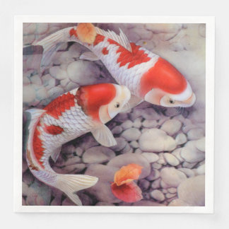 Red and White Koi Fish Pond Paper Dinner Napkin