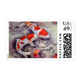 Red and White Koi Fish Pond Postage