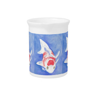 red and white Koi Drink Pitcher