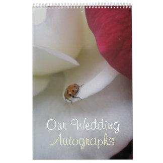 Red and White Ladybug Petals Wedding Calendar