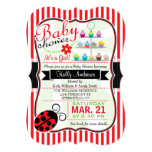 Red and White Ladybug Theme Girl Baby Shower Card
