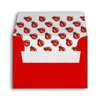 Red And White Ladybugs Envelopes