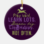 Red and White Leaping Horse Christmas Tree Ornaments