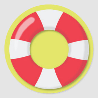 Red and White  Lifeguard Rubber Ring Floatie Classic Round Sticker