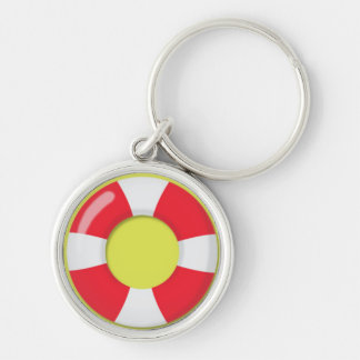 Red and White  Lifeguard Rubber Ring Floatie Keychain