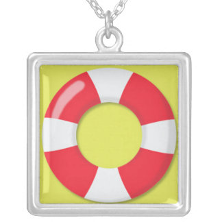 Red and White  Lifeguard Rubber Ring Floatie Jewelry