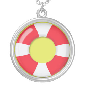 Red and White  Lifeguard Rubber Ring Floatie Silver Plated Necklace