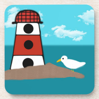 Red and White Lighthouse and Seagull Coaster