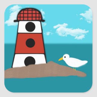 Red and White Lighthouse and Seagull Sticker