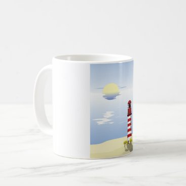 Beach Themed Red And White Lighthouse Mug