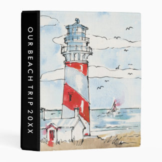 Red and White Lighthouse Scene Mini Binder