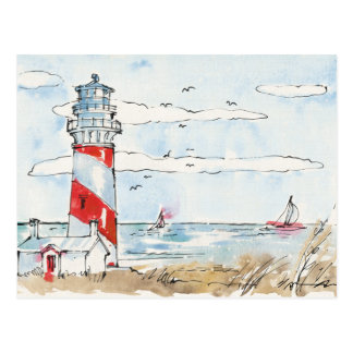 Red and White Lighthouse Scene Postcard