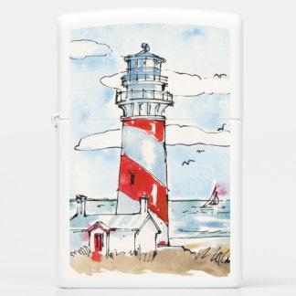 Red and White Lighthouse Scene Zippo Lighter