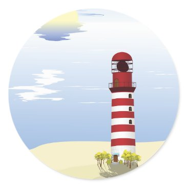 Beach Themed Red And White Lighthouse Stickers