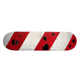 Red and white lines with black pattern skateboard deck