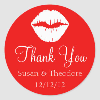 Red and White Lips Thank You Classic Round Sticker