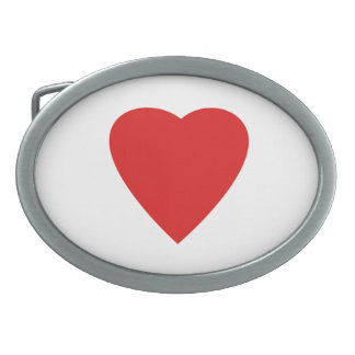 Red and White Love Heart Design. Belt Buckles