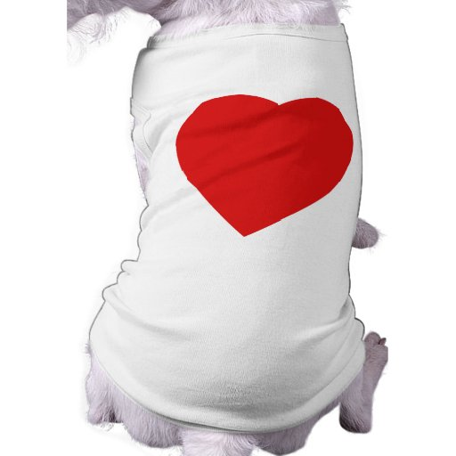 Red and White Love Heart Design. Dog Tee Shirt